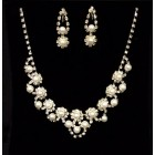 Wedding Sweet 16/15 Pearl Rhinestones Silver Necklace Earring Jewelry Set