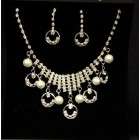 Wedding Bridal Sweet 16/15 Pearl Rhinestones Silver Necklace Earring Jewelry Set