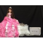 Sweet 15 Fifteen Mis Quince Anos Doll with Tiara Pillow and Guest Book Quinceanera