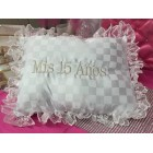 My Sweet 15 Fifteen Mis Quince Anos White Square Shaped Tiara or Shoe Pillow