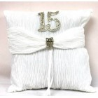 Mis Quince Sweet 15 White Tiara Pillow with Rhinestone Number