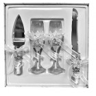 4 Piece Mis Quince Anos Cake Knife and Server Set with Champagne Toasting Glass Flutes White Flower Design