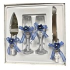 4 Piece Mis Quince Anos Cake Knife and Server Set with Champagne Toasting Glass Flutes White Flower Blue Design