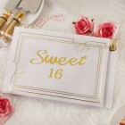 Gold Lettering Sweet Sixteen Guest Book