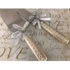 Cake Knife and Server Set Mother of Pearl Handle Rhinestone Decorations with a Bow Wedding Sweet 16 Birthday