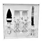 4 Sweet 16 Cake Knife and Server Set with Champagne Toasting Glass FlutesWhite Design