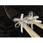 Cake Knife and Server Set Mother of Pearl Handle with Silver Flower Bows Wedding Sweet 16 Birthday