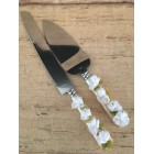 Cake Knife and Server Set Mother of Pearl Handle with White Flowers Wedding Sweet 16 Birthday