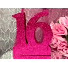 Sweet 16 Glitter Number Cake Centerpiece Decoration Fuchsia