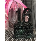 Black Sweet 16 Sixteen Number Favor Centerpiece Cake Top Caketopper Decoration Gift