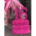 Fuchsia Sweet 16 Sixteen Number Favor Centerpiece Cake Top Caketopper Decoration Gift