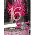 Sweet 16 Pink Rhinestone Number with Cake Knife and Server Set with Acrylic Handle