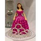 Sweet 16 Sweet 15 Birthday Fuchsia Girl with Rhinestone Tiara Cake Top Decoration