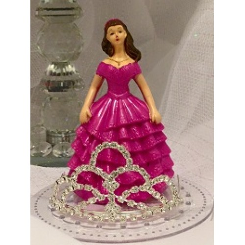 Sweet 16 15 Birthday Fuchsia Girl With Rhinestone Tiara Cake Top Decoration