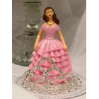 Sweet 16 Sweet 15 Birthday Pink Girl with Rhinestone Tiara Cake Top Decoration