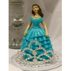 Sweet 16 Sweet 15 Birthday Turquoise Girl with Rhinestone Tiara Cake Top Decoration