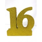 Sweet 16 Glitter Number Cake Centerpiece Decoration Gold