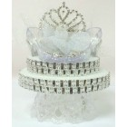 Sweet 16-Sweet 15 Quinceanera Silver Tiara Rhinestones Cake Topper Decoration