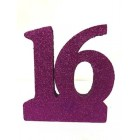 Sweet 16 Glitter Number Cake Centerpiece Decoration Purple