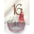 Sweet 16 Sixteen Birthday Rhinestone Number with Figurine Cake Topper
