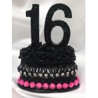 Sweet 16 Zebra Print Cake Number Favor Decoration