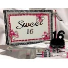 Sweet 16 Birthday Zebra Theme Print Cake Topper Number Guest Book Cake Khife Set