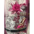 Sweet 16 Fuchsia Acrylic Flower with High Heel Shoe Favor and Purse Gift Keepsake