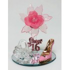 Sweet 16 Pink Acrylic Flower with High Heel Shoe Favor and Purse Gift Keepsake