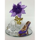 Sweet 16 Purple Acrylic Flower with High Heel Shoe Favor and Purse Gift Keepsake