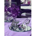 Sweet 16 Purple Acrylic Flower with High Heel Shoe Favor Gift