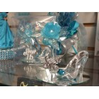 Sweet 16 Turquoise Acrylic Flower with High Heel Shoe Favor Gift Decoration