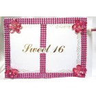 Sweet 16 Fuchsia Rhinestone Guest Book with Pen