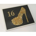 Sweet 16 Signature Guest Book with High Heel Designed with Gold Rhinestones
