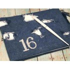 Sweet 16 Ripped Jeans Signature Guest Book with Rhinestone Number 16