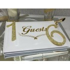 Sweet 16 Signature Guest Book with Gold Rhinestone Number 16 with Pen