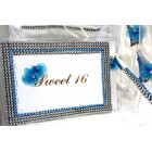 Sweet 16 Birthday Turquoise Rhinestone Guest Book with Pen Set