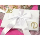 Sweet 16 Signature Guest Book with Rhinestone Gold Monogram Personalized Letter