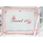 Sweet 16 Pink Butterflies Design Guest Book