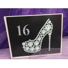 Sweet 16 Celebration Signature Guest Book Rhinestone Number 16 with Shoe Design with Pen