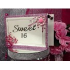 Sweet 16 Acrylic Pink Flower Design Guest Book
