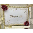 Handcrafted Sweet 16 Golden Highlighted Guest Book Keepsake or Gift