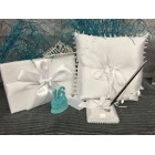 Satin Guest Book and Pen Set with Tiara Pillow with Figurine for Sweet 16 Celebration