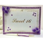 Sweet 16 Guest Book w/ Acrylic Flowers