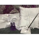 Satin Guest Book and Pen Set with Tiara Pillow with Purple Number Figurine for Sweet 16 Celebration