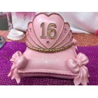 Pink Sweet 16 Princess Tiara on Pillow Party Favor Keepsake