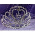 Silver Rhinestones Sweet 16 Princess Tiara Crown Birthday Accessorie