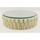Round Pearl Beaded Rhinestone Mirror Cake Base Decoration Centerpiece For Wedding Special Events All Occasions 4.5""