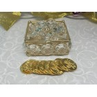 Wedding Traditional Gold Arras Flower Sqaure Shaped with 13 Coins