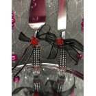 Wedding Cake Knife and Server with Rhinestones with Flowers