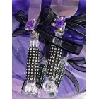 Wedding Cake Knife & Server Set with Simulated Rhinestones and Purple Flowers